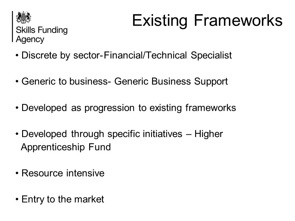 Existing Frameworks Discrete by sector-Financial/Technical Specialist Generic to business- Generic Business Support Developed as progression to existi
