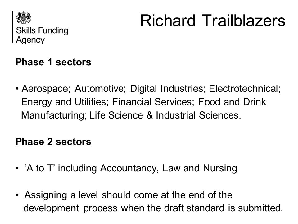 Richard Trailblazers Phase 1 sectors Aerospace; Automotive; Digital Industries; Electrotechnical; Energy and Utilities; Financial Services; Food and D