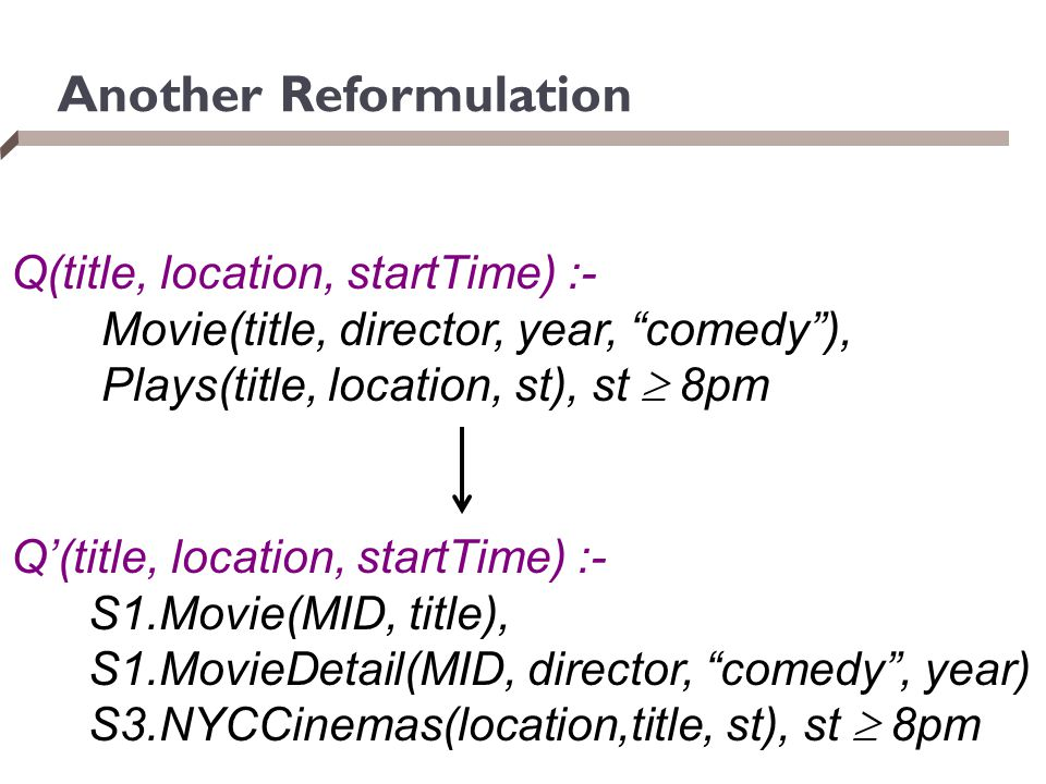 "Another Reformulation Q(title, location, startTime) :- Movie(title, director, year, ""comedy""), Plays(title, location, st), st  8pm Q'(title, location"