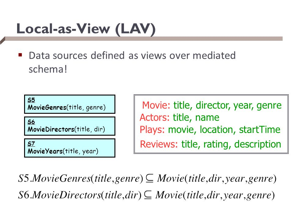 Local-as-View (LAV)  Data sources defined as views over mediated schema! Movie: title, director, year, genre Actors: title, name Plays: movie, locati