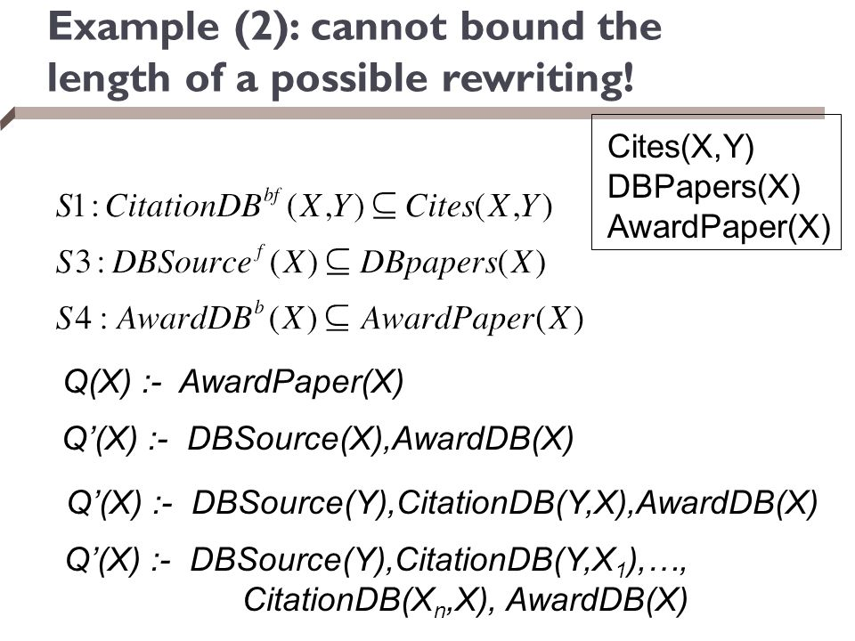 Example (2): cannot bound the length of a possible rewriting! Cites(X,Y) DBPapers(X) AwardPaper(X) Q(X) :- AwardPaper(X) Q'(X) :- DBSource(X),AwardDB(