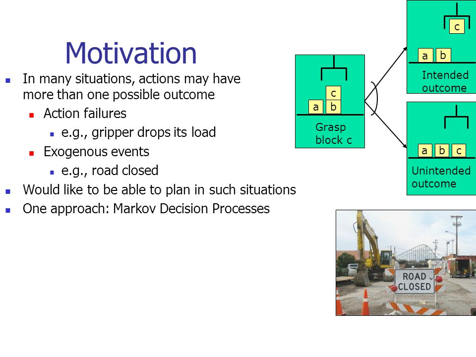 Motivation In many situations, actions may have more than one possible outcome Action failures e.g., gripper drops its load Exogenous events e.g., roa