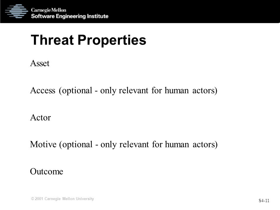 S4-11 © 2001 Carnegie Mellon University Threat Properties Asset Access (optional - only relevant for human actors) Actor Motive (optional - only relev