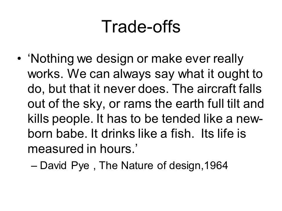 Trade-offs 'Nothing we design or make ever really works.