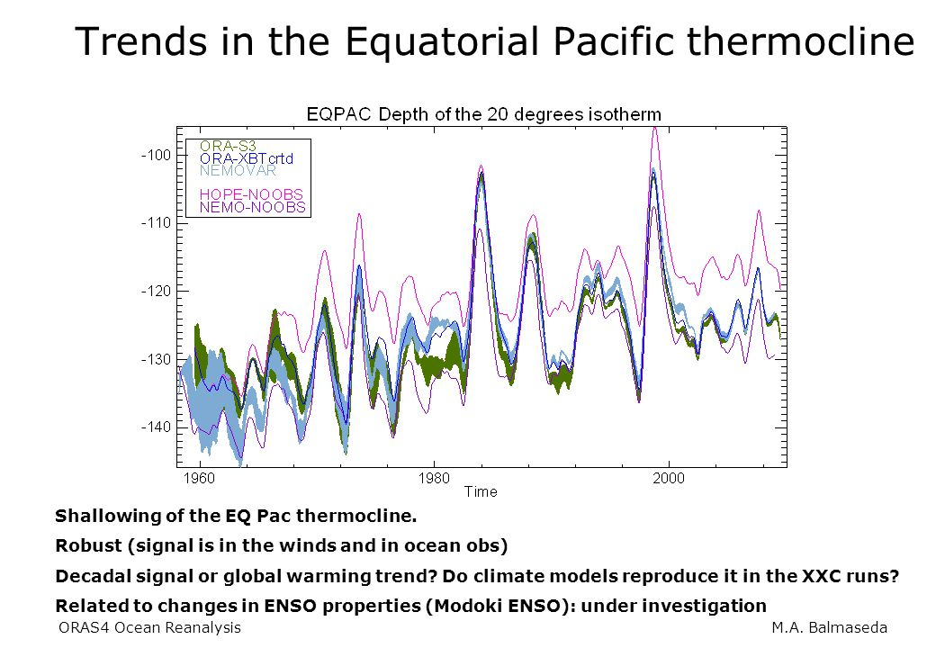 ORAS4 Ocean Reanalysis M.A. Balmaseda Trends in the Equatorial Pacific thermocline Shallowing of the EQ Pac thermocline. Robust (signal is in the wind