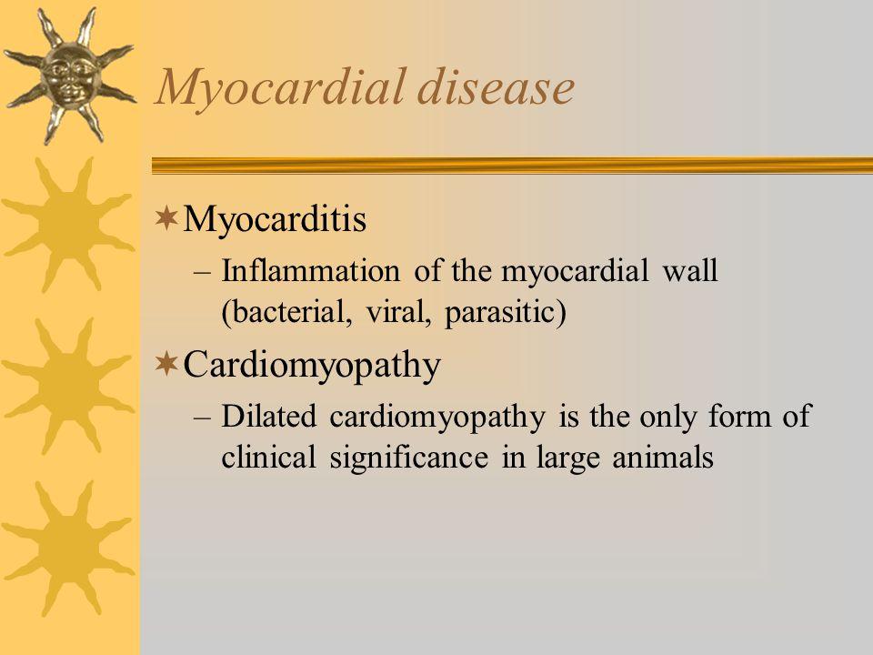 Myocardial disease  Myocarditis –Inflammation of the myocardial wall (bacterial, viral, parasitic)  Cardiomyopathy –Dilated cardiomyopathy is the on