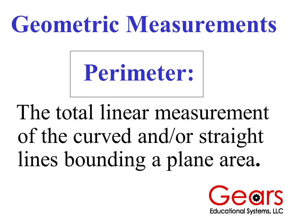 The total linear measurement of the curved and/or straight lines bounding a plane area.