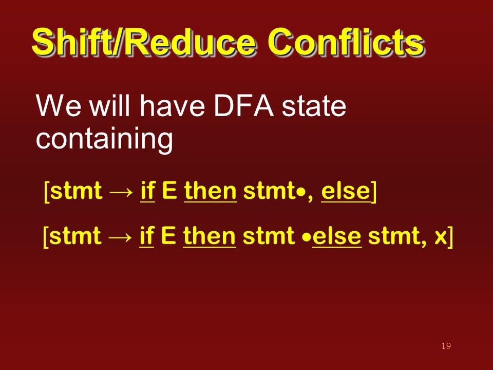 19 Shift/Reduce Conflicts We will have DFA state containing [ stmt → if E then stmt , else ] [ stmt → if E then stmt  else stmt, x ]