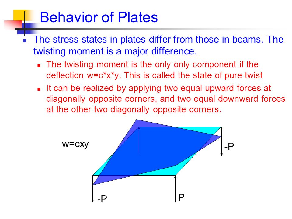 P Behavior of Plates The stress states in plates differ from those in beams.