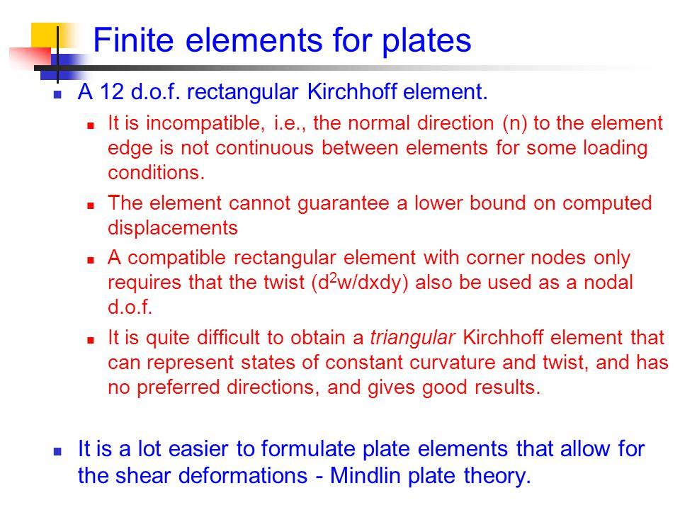 Finite elements for plates A 12 d.o.f.rectangular Kirchhoff element.