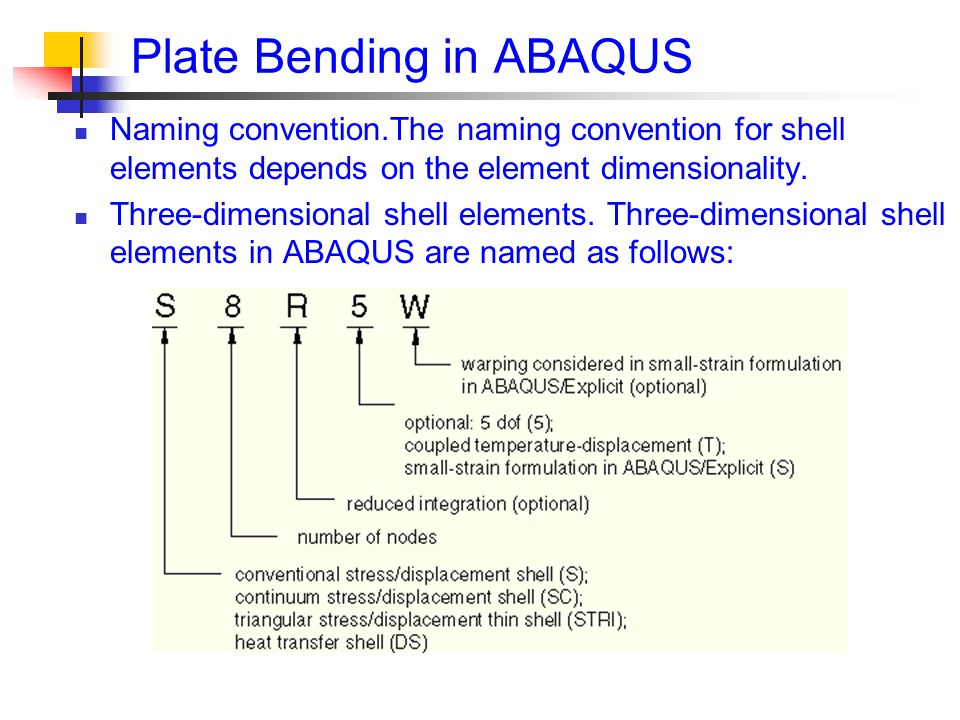 Plate Bending in ABAQUS Naming convention.The naming convention for shell elements depends on the element dimensionality.