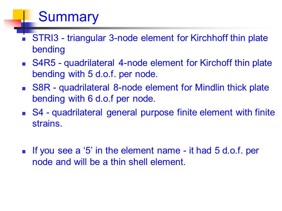 Summary STRI3 - triangular 3-node element for Kirchhoff thin plate bending S4R5 - quadrilateral 4-node element for Kirchoff thin plate bending with 5 d.o.f.