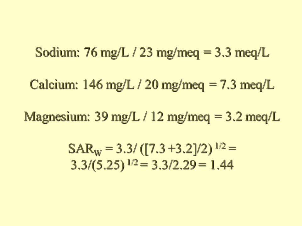 Sodium: 76 mg/L / 23 mg/meq = 3.3 meq/L Calcium: 146 mg/L / 20 mg/meq = 7.3 meq/L Magnesium: 39 mg/L / 12 mg/meq = 3.2 meq/L SAR W = 3.3/ ([7.3 +3.2]/2) 1/2 = 3.3/(5.25) 1/2 = 3.3/2.29 = 1.44