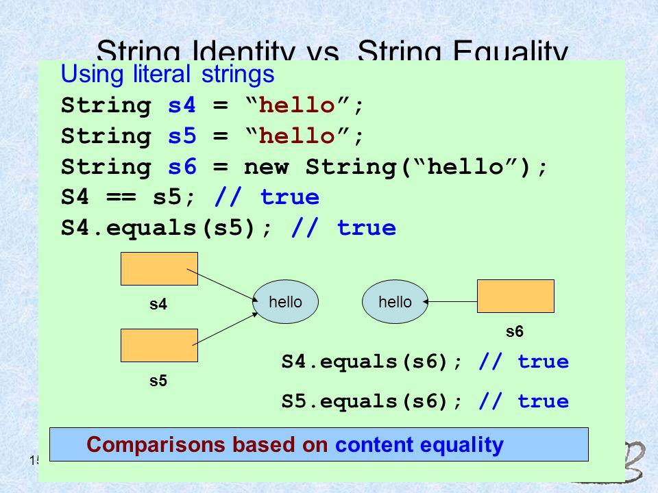 ACM/JETT Workshop - August 4-5, 2005 15 String Identity vs.