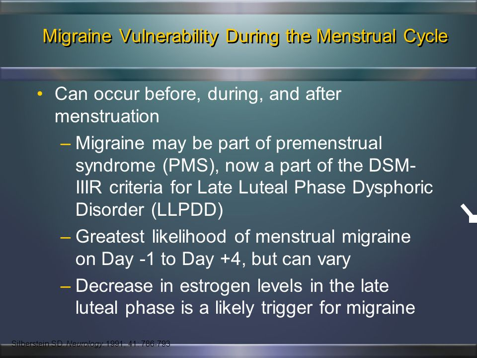 Menstrual Migraine: Definitions Menstrually-associated Migraine (MAM): –Women who experience attacks that occur both perimenstrually and at other time