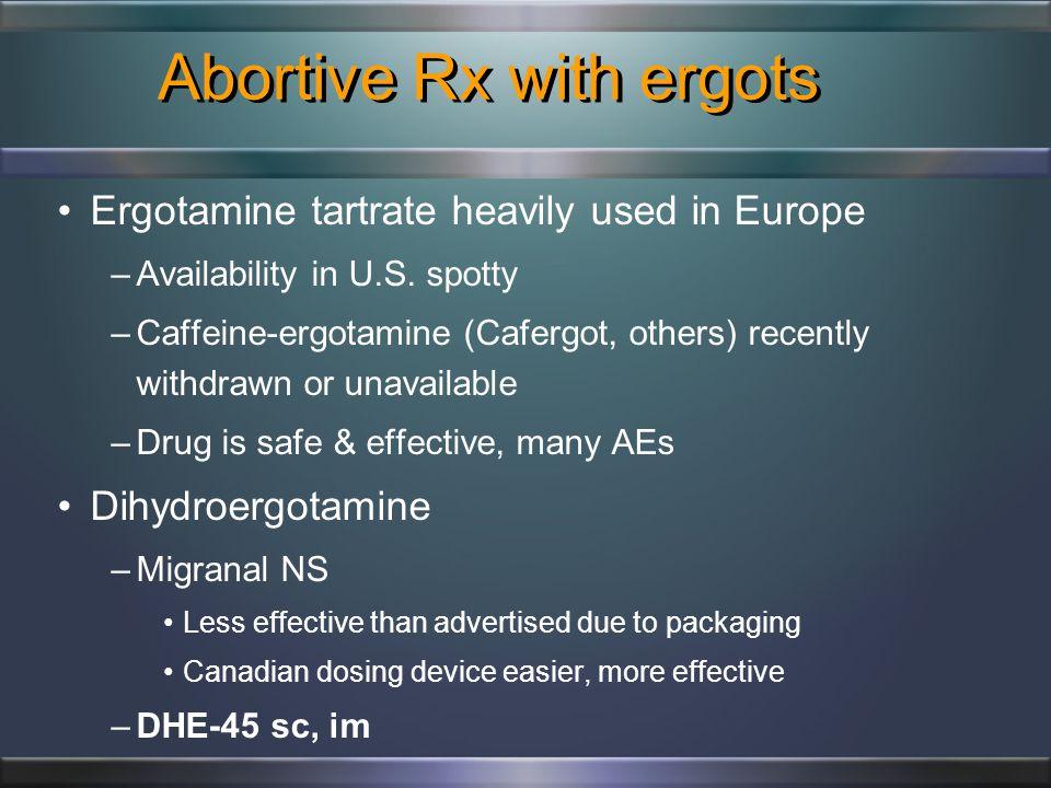 Abortive opioids Opioids –Oxycodone, hydrocodone, codeine,Tramadol, Butorphanol NS –Overuse: dependence, analgesic rebound HA