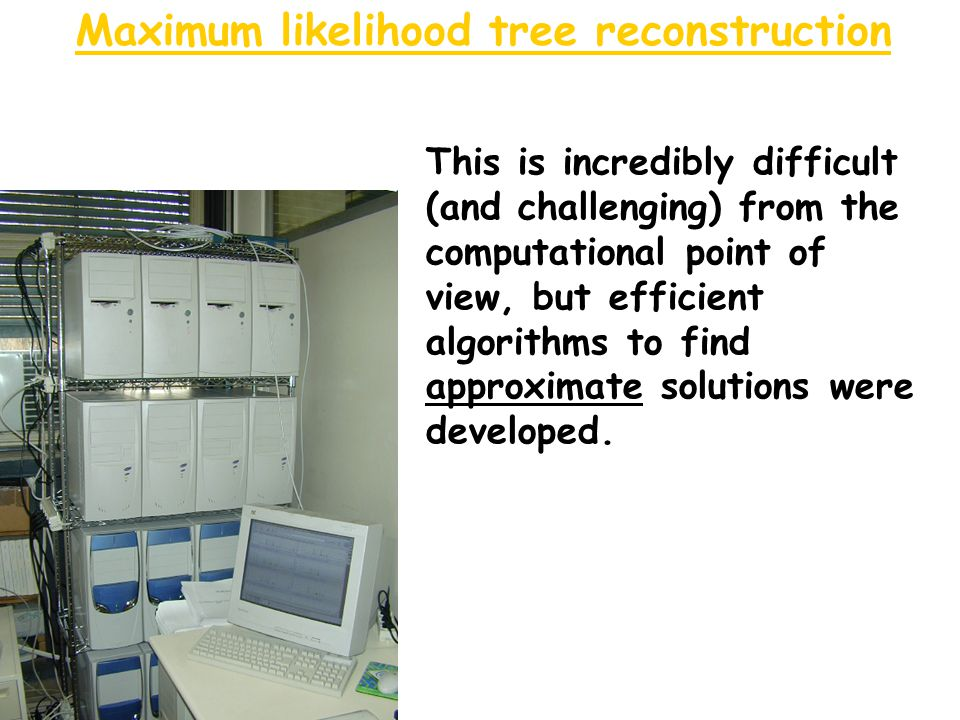 Maximum likelihood tree reconstruction This is incredibly difficult (and challenging) from the computational point of view, but efficient algorithms to find approximate solutions were developed.