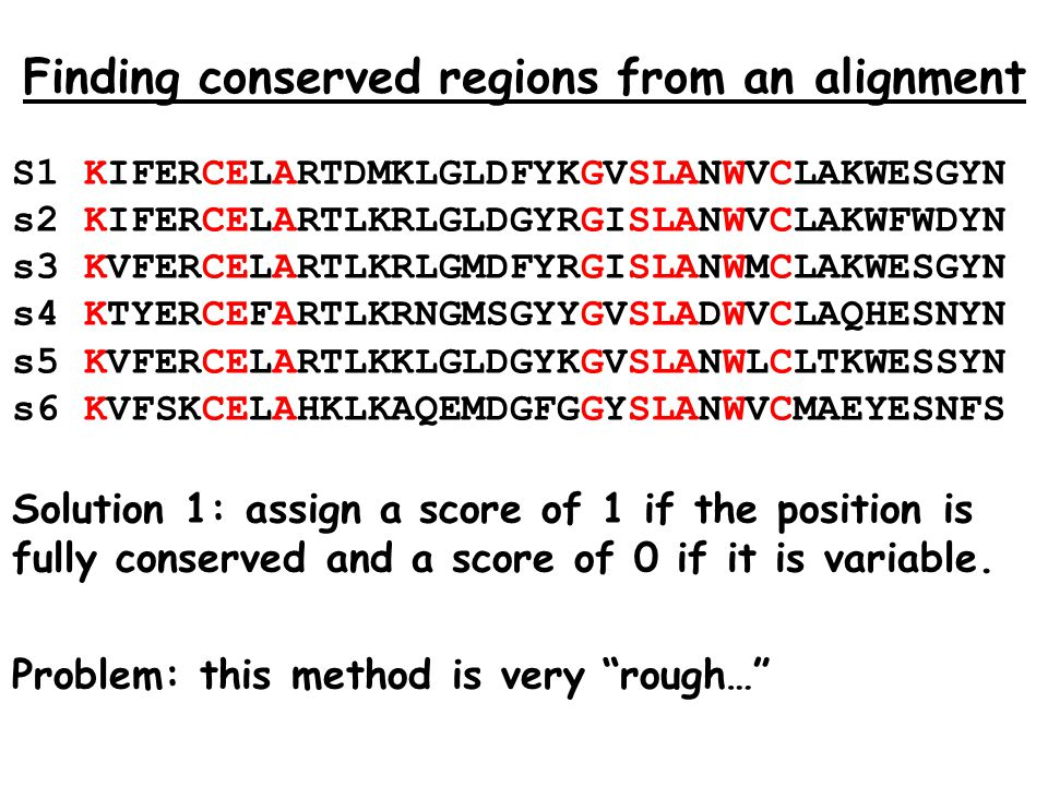 Finding conserved regions from an alignment S1 KIFERCELARTDMKLGLDFYKGVSLANWVCLAKWESGYN s2 KIFERCELARTLKRLGLDGYRGISLANWVCLAKWFWDYN s3 KVFERCELARTLKRLGMDFYRGISLANWMCLAKWESGYN s4 KTYERCEFARTLKRNGMSGYYGVSLADWVCLAQHESNYN s5 KVFERCELARTLKKLGLDGYKGVSLANWLCLTKWESSYN s6 KVFSKCELAHKLKAQEMDGFGGYSLANWVCMAEYESNFS Solution 1: assign a score of 1 if the position is fully conserved and a score of 0 if it is variable.