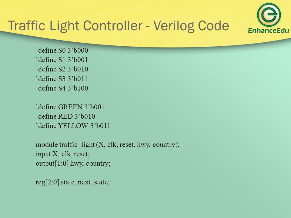 Traffic Light Controller - Verilog Code `define S0 3'b000 `define S1 3'b001 `define S2 3'b010 `define S3 3'b011 `define S4 3'b100 `define GREEN 3'b001