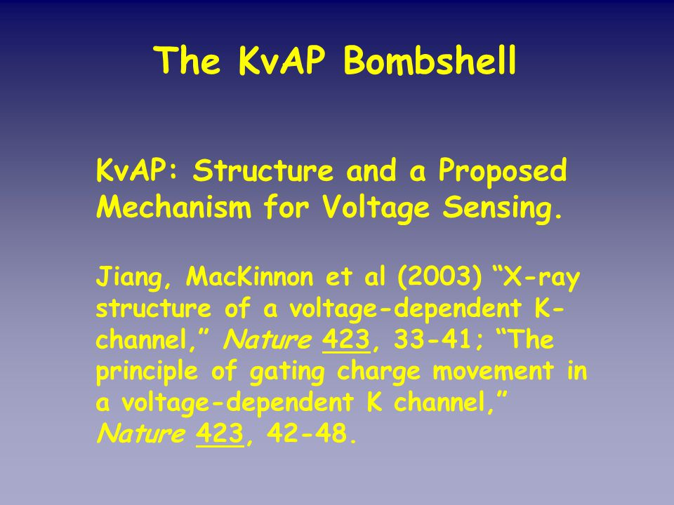 KvAP: Structure and a Proposed Mechanism for Voltage Sensing.