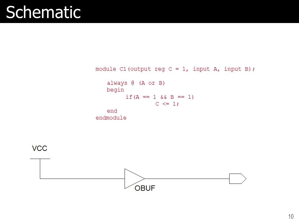 10Schematic module C1(output reg C = 1, input A, input B); always @ (A or B) begin if(A == 1 && B == 1) C <= 1; endendmodule