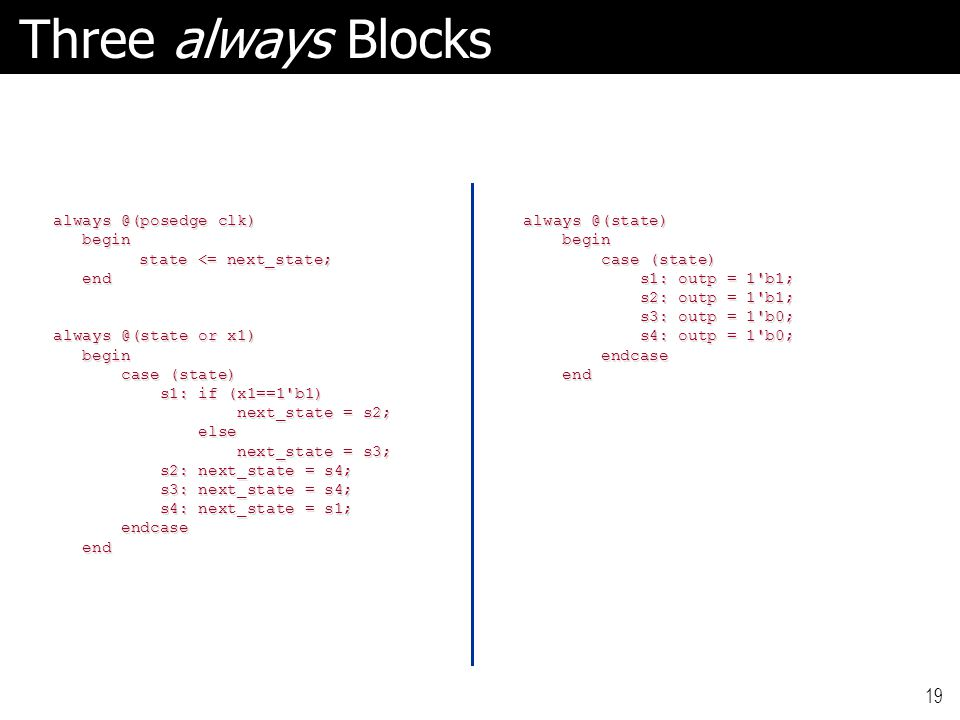 19 Three always Blocks always @(posedge clk) always @(posedge clk) begin begin state <= next_state; end end always @(state or x1) always @(state or x1) begin begin case (state) case (state) s1: if (x1==1 b1) s1: if (x1==1 b1) next_state = s2; next_state = s2; else else next_state = s3; next_state = s3; s2: next_state = s4; s2: next_state = s4; s3: next_state = s4; s3: next_state = s4; s4: next_state = s1; s4: next_state = s1; endcase endcase end end always @(state) begin begin case (state) case (state) s1: outp = 1 b1; s1: outp = 1 b1; s2: outp = 1 b1; s2: outp = 1 b1; s3: outp = 1 b0; s3: outp = 1 b0; s4: outp = 1 b0; s4: outp = 1 b0; endcase endcase end end
