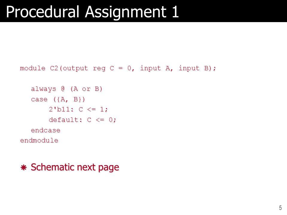 5 Procedural Assignment 1 module C2(output reg C = 0, input A, input B); always @ (A or B) case ({A, B}) 2 b11: C <= 1; default: C <= 0; endcaseendmodule  Schematic next page