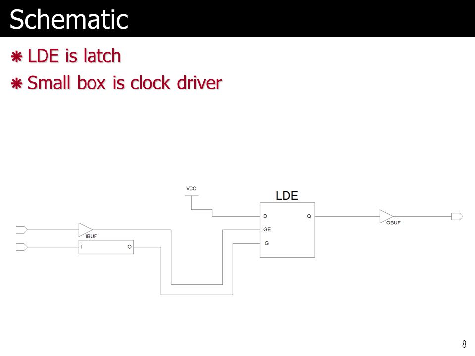 8Schematic  LDE is latch  Small box is clock driver
