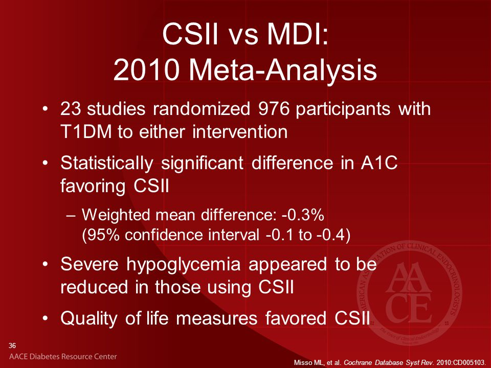 36 CSII vs MDI: 2010 Meta-Analysis 23 studies randomized 976 participants with T1DM to either intervention Statistically significant difference in A1C favoring CSII –Weighted mean difference: -0.3% (95% confidence interval -0.1 to -0.4) Severe hypoglycemia appeared to be reduced in those using CSII Quality of life measures favored CSII Misso ML, et al.