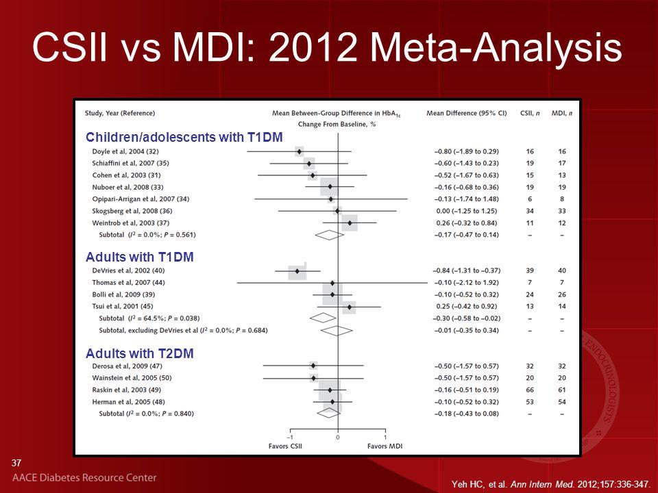 37 CSII vs MDI: 2012 Meta-Analysis Yeh HC, et al. Ann Intern Med.