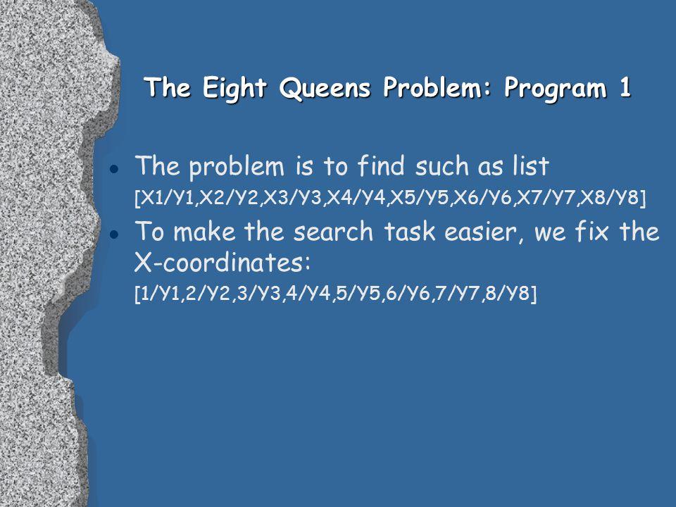 The Eight Queens Problem: Program 1 l The problem is to find such as list [X1/Y1,X2/Y2,X3/Y3,X4/Y4,X5/Y5,X6/Y6,X7/Y7,X8/Y8] l To make the search task easier, we fix the X-coordinates: [1/Y1,2/Y2,3/Y3,4/Y4,5/Y5,6/Y6,7/Y7,8/Y8]
