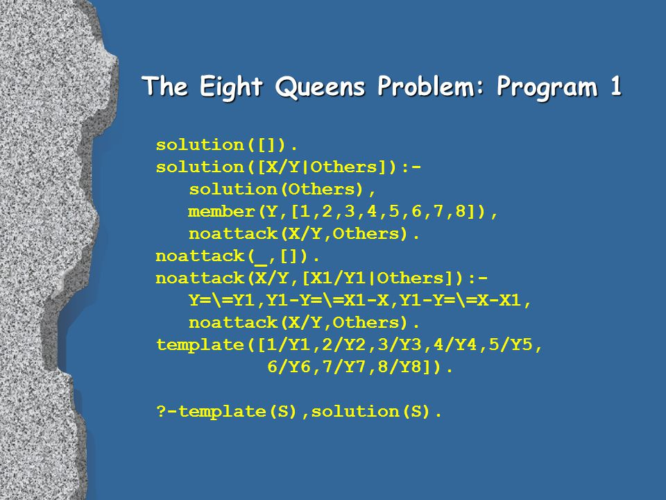 The Eight Queens Problem: Program 1 solution([]).