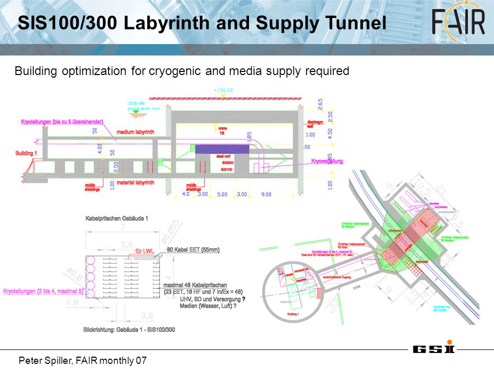 Peter Spiller, FAIR monthly 07 SIS100/300 Labyrinth and Supply Tunnel Building optimization for cryogenic and media supply required
