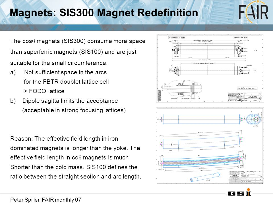 Peter Spiller, FAIR monthly 07 Magnets: SIS300 Magnet Redefinition The cos  magnets (SIS300) consume more space than superferric magnets (SIS100) and