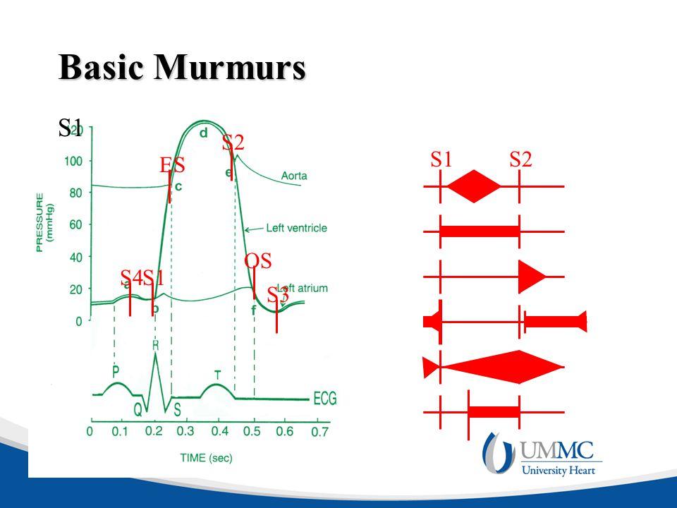 Basic Murmurs S1 S2 S1 S2 S4 S3 OS ES