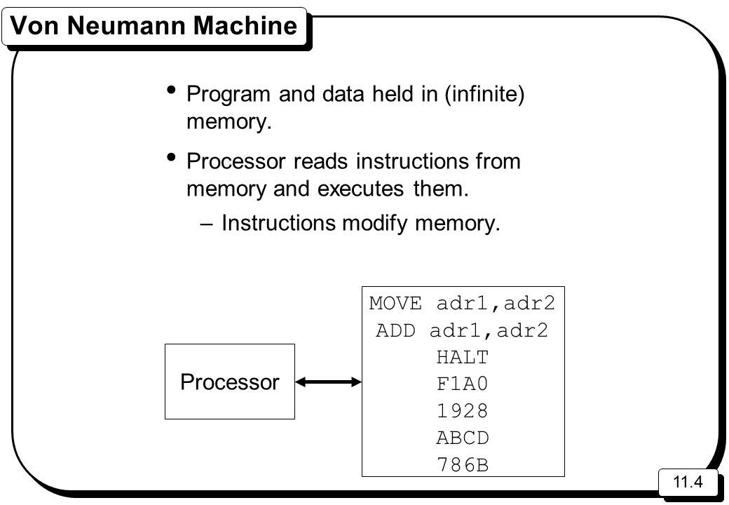 11.4 Von Neumann Machine Program and data held in (infinite) memory.