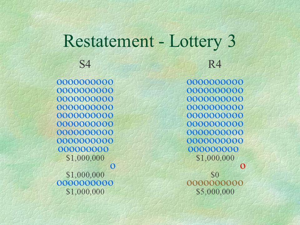 Restatement - Lottery 4 S4 oooooooooo ooooooooo $0 o $1,000,000 oooooooooo $1,000,000 R4 oooooooooo ooooooooo $0 o $0 oooooooooo $5,000,000