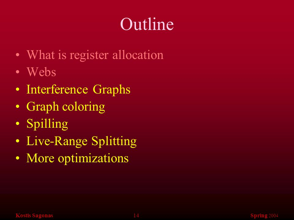 Kostis Sagonas 14 Spring 2004 Outline What is register allocation Webs Interference Graphs Graph coloring Spilling Live-Range Splitting More optimizations
