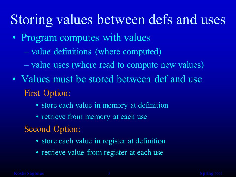 Kostis Sagonas 3 Spring 2004 Storing values between defs and uses Program computes with values –value definitions (where computed) –value uses (where