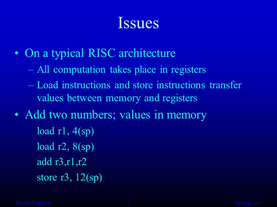 Kostis Sagonas 4 Spring 2004 Issues On a typical RISC architecture –All computation takes place in registers –Load instructions and store instructions transfer values between memory and registers Add two numbers; values in memory load r1, 4(sp) load r2, 8(sp) add r3,r1,r2 store r3, 12(sp)
