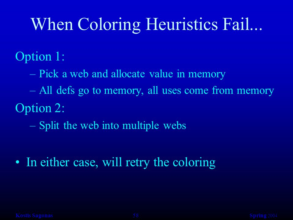 Kostis Sagonas 58 Spring 2004 When Coloring Heuristics Fail... Option 1: –Pick a web and allocate value in memory –All defs go to memory, all uses com