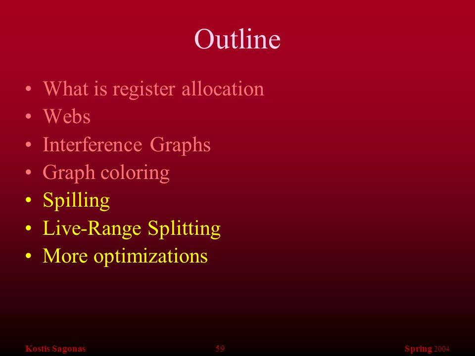 Kostis Sagonas 59 Spring 2004 Outline What is register allocation Webs Interference Graphs Graph coloring Spilling Live-Range Splitting More optimizat