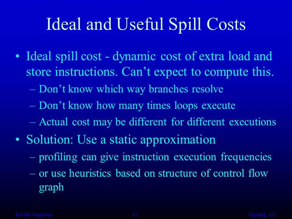 Kostis Sagonas 61 Spring 2004 Ideal and Useful Spill Costs Ideal spill cost - dynamic cost of extra load and store instructions.