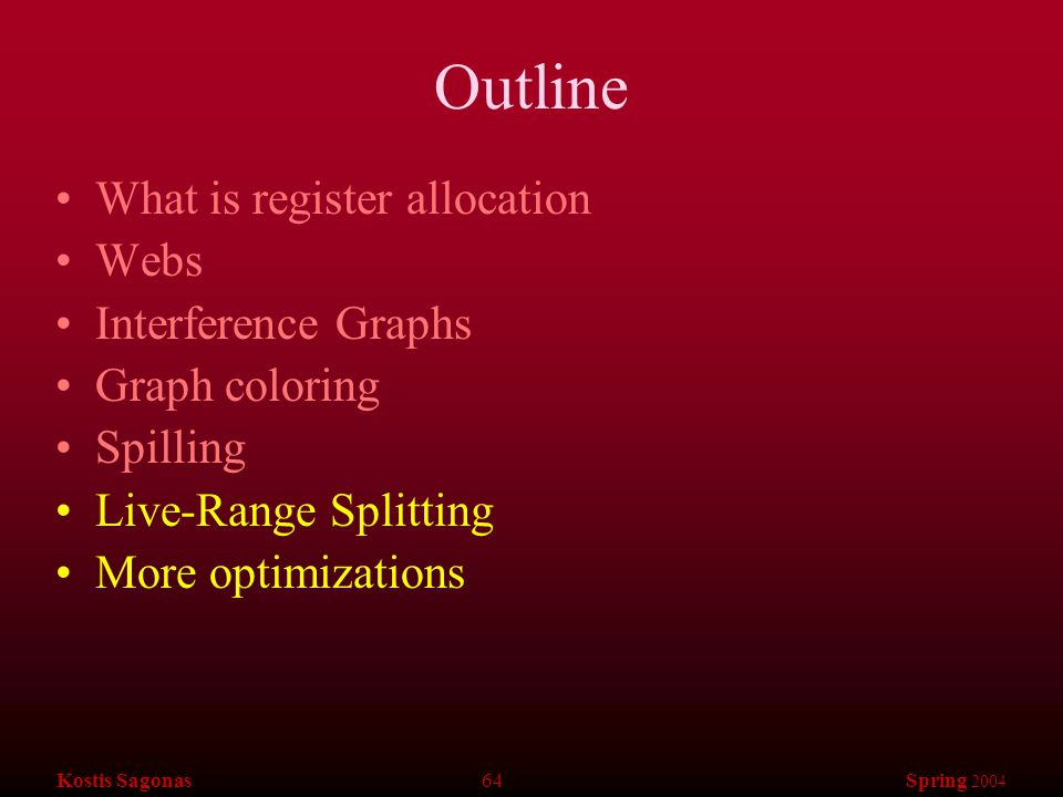 Kostis Sagonas 64 Spring 2004 Outline What is register allocation Webs Interference Graphs Graph coloring Spilling Live-Range Splitting More optimizat