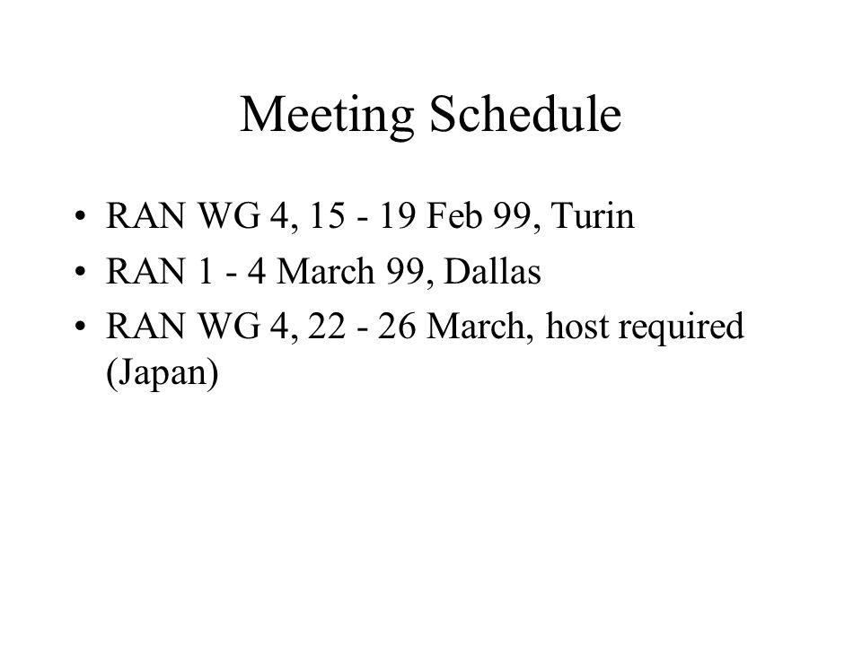 Meeting Schedule RAN WG 4, 15 - 19 Feb 99, Turin RAN 1 - 4 March 99, Dallas RAN WG 4, 22 - 26 March, host required (Japan)