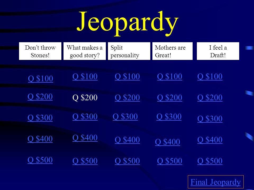 Jeopardy Don't throw Stones.What makes a good story.