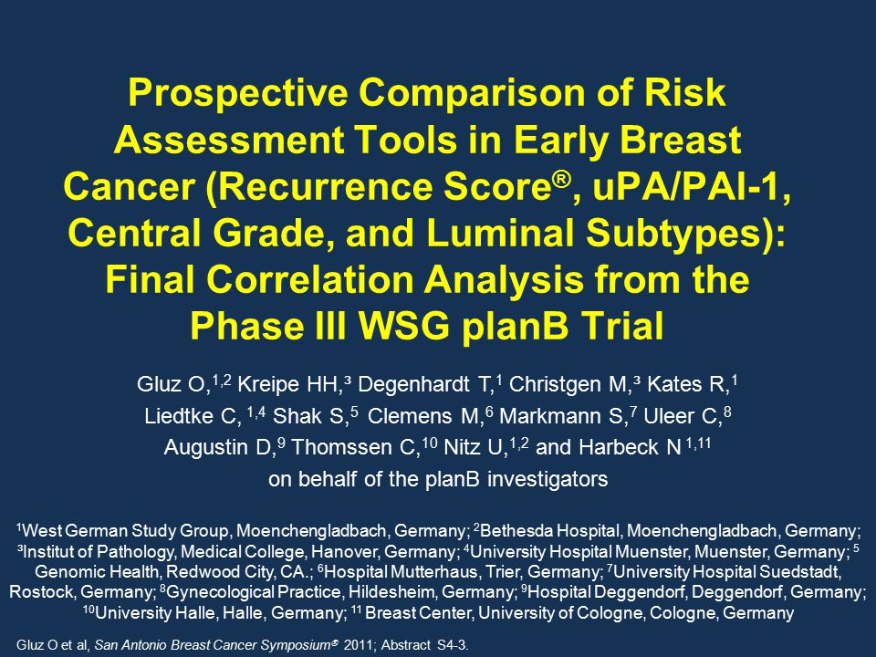 Prospective Comparison of Risk Assessment Tools in Early Breast Cancer (Recurrence Score ®, uPA/PAI-1, Central Grade, and Luminal Subtypes): Final Correlation Analysis from the Phase III WSG planB Trial Gluz O, 1,2 Kreipe HH,³ Degenhardt T, 1 Christgen M,³ Kates R, 1 Liedtke C, 1,4 Shak S, 5 Clemens M, 6 Markmann S, 7 Uleer C, 8 Augustin D, 9 Thomssen C, 10 Nitz U, 1,2 and Harbeck N 1,11 on behalf of the planB investigators Gluz O et al, San Antonio Breast Cancer Symposium  2011; Abstract S4-3.