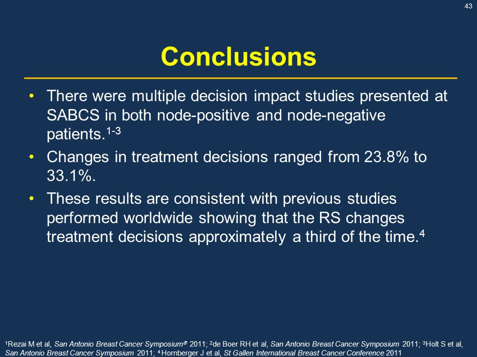 43 Conclusions There were multiple decision impact studies presented at SABCS in both node-positive and node-negative patients.