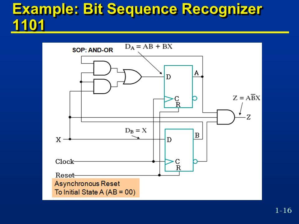 1-16 Example: Bit Sequence Recognizer 1101
