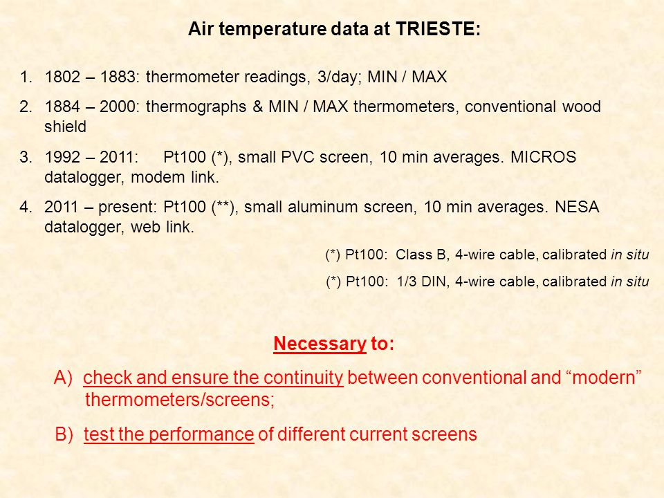 Air temperature shelters/screens: final results (A)Air temperature data measured in LWS with mechanical thermographs and MIN/MAX reference thermometers are equivalent to 10 min averages data logged by means of Pt100 in a small PVC screen calibrated and adapted (SR).